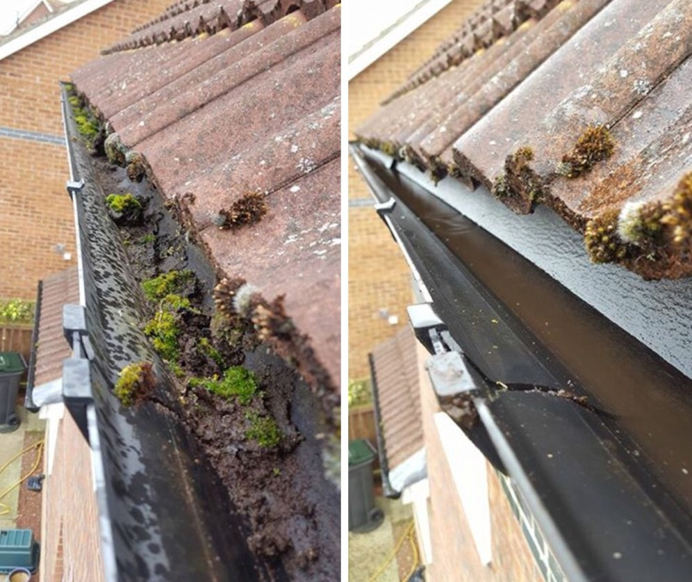 Before and after gutter clearance