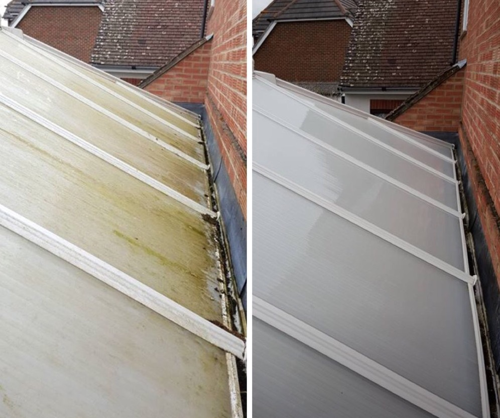 Before and after conservatory roof clean